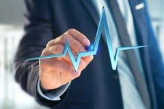 ligne de battement de coeur du rendu 3d sur une interface futuriste Photo stock
