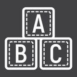 Ligne de blocs d'ABC icône, cubes en alphabet et éducation Photo libre de droits