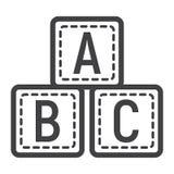 Ligne de blocs d'ABC icône, cubes en alphabet et éducation Photo stock