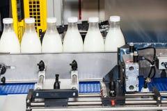 Ligne de bouteilles à lait d'emballage Photos libres de droits