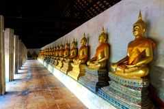 Ligne de Buddhas d'or posé dans la cour de temple Photographie stock