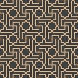 Ligne de cadre islamique de croix de la géométrie de polygone de spirale d'étoile de rétro fond sans couture de modèle de damassé illustration stock