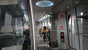 Ligne de car Interior - d'Airport Express de métro de Delhi Photographie stock libre de droits