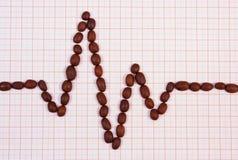 Ligne de cardiogramme de concept rôti de graines de café, de médecine et de soins de santé Image libre de droits