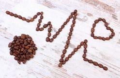 Ligne de cardiogramme de concept rôti de graines de café, de médecine et de soins de santé Photographie stock libre de droits