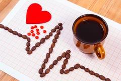 Ligne de cardiogramme des graines de café, de la tasse de café et de pilules de supplément, de la médecine et du concept de soins Image libre de droits
