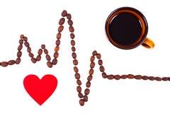 Ligne de cardiogramme des graines de café, de la tasse de café et du concept rouge de coeur, de médecine et de soins de santé Photo libre de droits