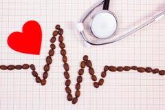 Ligne de cardiogramme des graines de café, du stéthoscope et du concept rouge de coeur, de médecine et de soins de santé Images stock