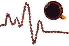 Ligne de cardiogramme des graines de café et de la tasse du concept de café, de médecine et de soins de santé Photo libre de droits