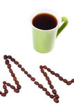 Ligne de cardiogramme des graines de café et de la tasse du concept de café, de médecine et de soins de santé Image libre de droits
