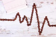 Ligne de cardiogramme des graines de café et le document imprimé rôti, le concept de la médecine et les soins de santé Photo libre de droits