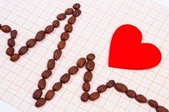 Ligne de cardiogramme des graines de café rôties et du concept rouge de coeur, de médecine et de soins de santé Photos libres de droits