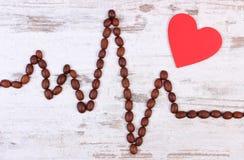 Ligne de cardiogramme des graines de café rôties et du concept rouge de coeur, de médecine et de soins de santé Images libres de droits