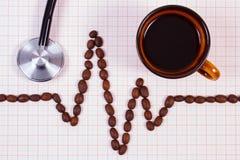 Ligne de cardiogramme des graines de café, tasse de concept de café et de stéthoscope, de médecine et de soins de santé Image libre de droits