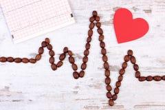 Ligne de cardiogramme faite en graines de café rôties et concept de document imprimé, de médecine et de soins de santé Photo libre de droits