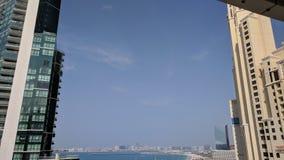 Ligne de ciel de bâtiments de plafond de ciel de Dubaï JBR Images libres de droits