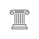 Ligne de colonne antique icône, logo de vecteur d'ensemble de pilier, PIC linéaire Images libres de droits