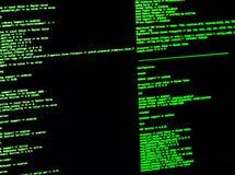 Ligne de commande d'ordinateur interface (CLI) Ligne interface verte de code aux commandes sur le fond noir photographie stock libre de droits