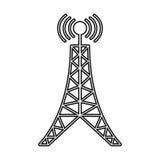 ligne de connexion d'émission de tour d'antenne photographie stock libre de droits