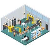 Ligne de convoyeur intérieur d'usine avec la vue isométrique Vecteur Photographie stock libre de droits