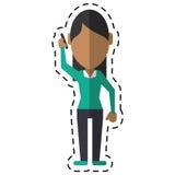 Ligne de coupe de communication de smartphone d'entretien de femme de caractère illustration libre de droits