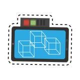 ligne de coupe en ligne de conception du model 3d 360 de smartphone de vr Images stock