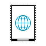 Ligne de coupe globale de conception de technologie de connexion de Smartphone Photos stock