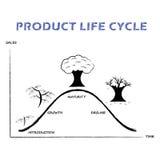 Ligne de cycle de vie des produits sur le fond blanc Images stock