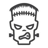 Ligne de Frankenstein icône, Halloween et effrayant illustration stock