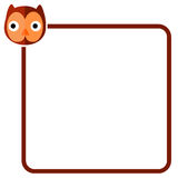 Ligne de frontière simple avec Owl Face Image stock