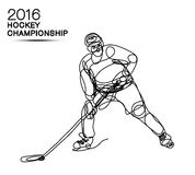 Ligne 2016 de l'art un de concept de championnat de hockey sur glace joueur avec l'effet au néon de la tasse de champion légère illustration stock