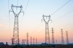 Ligne de la transmission tower Images libres de droits