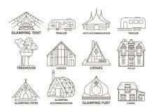 Ligne de logement de Glamping icône illustration de vecteur