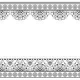 Ligne de Mehndi frontières de dentelle avec le modèle de cercles dans le style indien pour la carte ou tatouage sur le fond blanc image stock