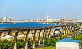 Ligne de monorail de Tokyo à l'aéroport international de Haneda Photographie stock