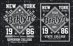 Ligne de New York City de typographie de vintage, vecteur Illustration Stock