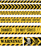 Ligne de police, crime et bandes sans couture d'avertissement Photos stock