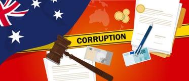 Ligne de police de contrat de loi financière de corruption d'argent de corruption d'Australie pour un fonctionnaire de gouverneme Images libres de droits