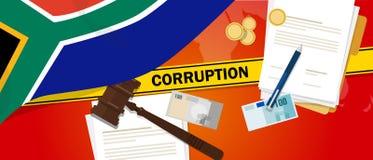 Ligne de police de contrat de loi financière de corruption d'argent de corruption de l'Afrique du Sud pour un fonctionnaire de go Photo libre de droits