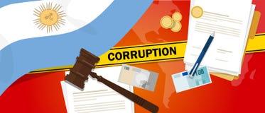 Ligne de police de contrat de loi financière de corruption d'argent de corruption de l'Argentine pour un fonctionnaire de gouvern Photographie stock