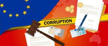 Ligne de police de contrat de loi financière de corruption d'argent de corruption de l'Europe pour un fonctionnaire de gouverneme Photo libre de droits