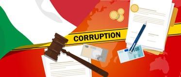Ligne de police de contrat de loi financière de corruption d'argent de corruption de l'Italie pour un fonctionnaire de gouverneme Photos libres de droits