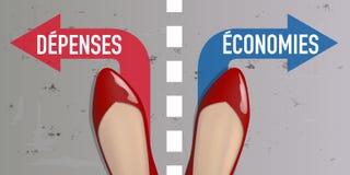 Ligne de séparation symbolisant le dilemme entre l'épargne et les expensess illustration libre de droits