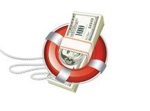 Ligne de sauvetage du dollar Images libres de droits