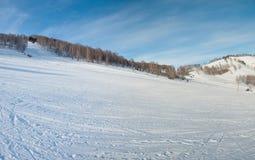 Ligne de ski de montagne à l'hiver Image stock