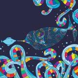 Ligne de style de carte de réunion de poissons Photographie stock libre de droits