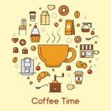 Ligne de temps de café Art Thin Icons Set avec des tasses et des haricots de café Image stock