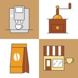 Ligne de temps de café Art Thin Icons Set avec des tasses et des haricots de café Photos stock