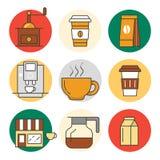 Ligne de temps de café Art Thin Icons Set avec des tasses et des haricots de café Photographie stock
