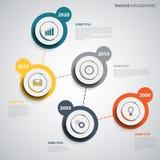 Ligne de temps graphique d'infos avec les indicateurs ronds de conception abstraite Photo stock